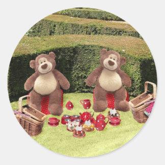 Pegatina Redonda Pegatinas de la comida campestre de los osos de
