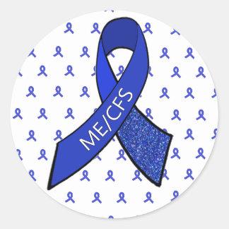 Pegatina Redonda Pegatinas de la conciencia de ME/CFS Blue Ribbon