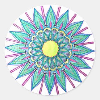 Pegatina Redonda Pegatinas de la estrella de la mandala del verde