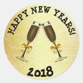 Pegatina Redonda Pegatinas de la Feliz Año Nuevo 2018 del oro