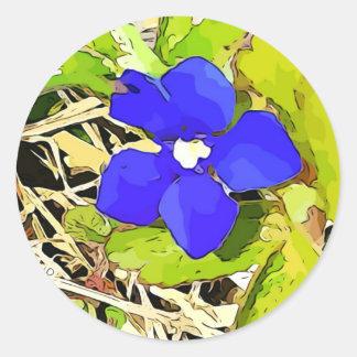 Pegatina Redonda Pegatinas de la flor de la genciana del azul real