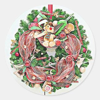 Pegatina Redonda Pegatinas de la guirnalda del navidad