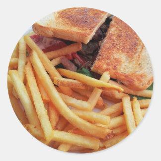 Pegatina Redonda Pegatinas de la hamburguesa y de las patatas
