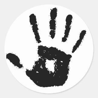 Pegatina Redonda Pegatinas de la mano redonda