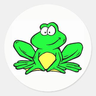 Pegatina Redonda Pegatinas de la mascota de la rana de Kenwood -