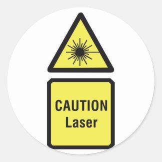 Pegatina Redonda Pegatinas de la muestra del laser de la precaución