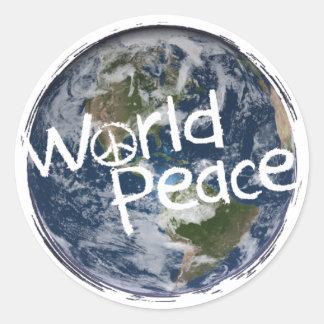Pegatina Redonda Pegatinas de la paz de mundo