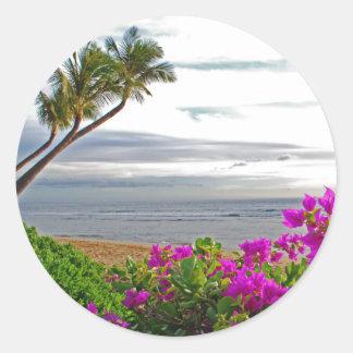 Pegatina Redonda Pegatinas de la playa de Maui