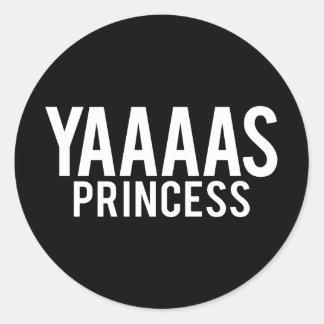 Pegatina Redonda Pegatinas de la princesa impresión blanca de Yas