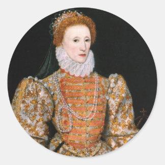Pegatina Redonda Pegatinas de la reina Elizabeth