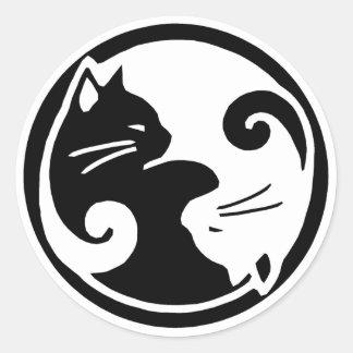 Pegatina Redonda Pegatinas de los gatos de Yin Yang