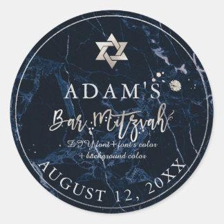 Pegatina Redonda Pegatinas de mármol de PixDezines Mitzvah/azul de