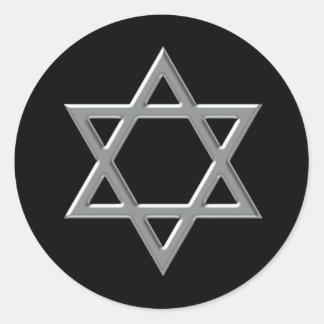 Pegatina Redonda Pegatinas de Mitzvah de la barra negra y de plata