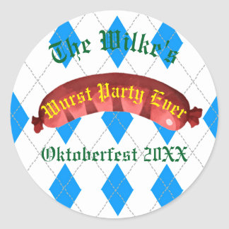 Pegatina Redonda Pegatinas de Oktoberfest - fiesta del Wurst nunca