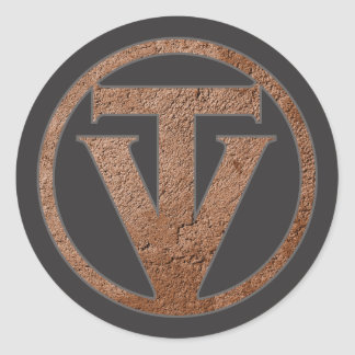 Pegatina Redonda Pegatinas de TrueVanguard - fondo gris oscuro