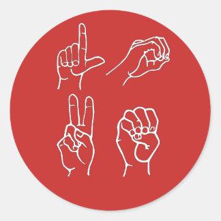 Pegatina Redonda Pegatinas del amor del ASL