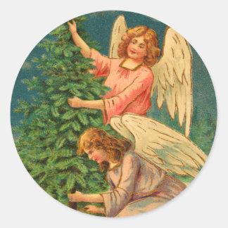 Pegatina Redonda Pegatinas del ángel del navidad del Victorian