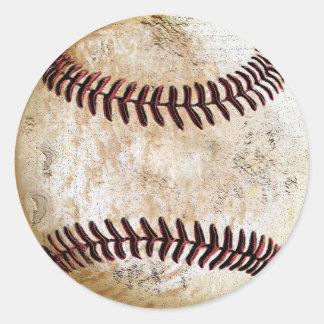 Pegatina Redonda Pegatinas del béisbol del vintage para manuscrito