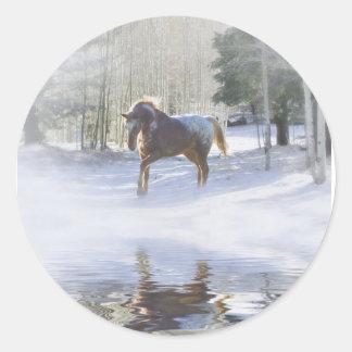 Pegatina Redonda ¡Pegatinas del caballo de Navidad!