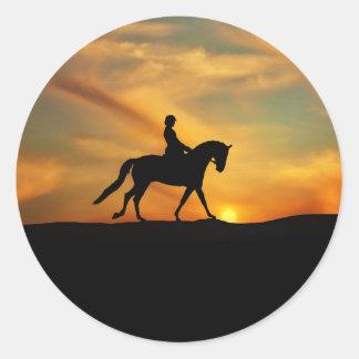 Pegatina Redonda Pegatinas del caballo y del jinete del Dressage