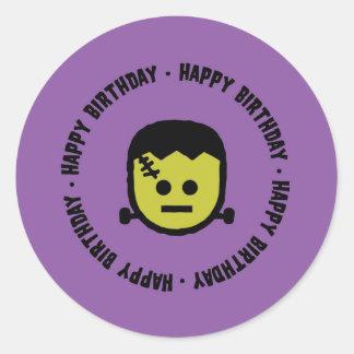 Pegatina Redonda Pegatinas del cumpleaños de Frankenstein Halloween