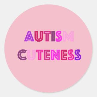 Pegatina Redonda Pegatinas del Cuteness del autismo
