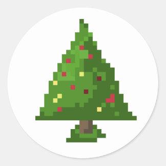 Pegatina Redonda Pegatinas del día de fiesta del navidad del árbol