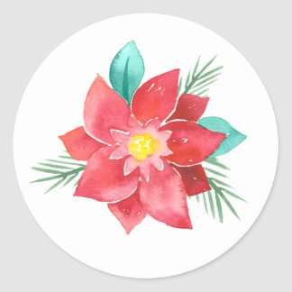 Pegatina Redonda Pegatinas del día de fiesta del Poinsettia de la