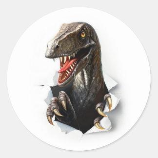Pegatina Redonda Pegatinas del dinosaurio del Velociraptor