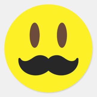 Pegatina Redonda Pegatinas del hombre de Emoji del bigote
