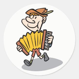 Pegatina Redonda Pegatinas del jugador del acordeón de piano,