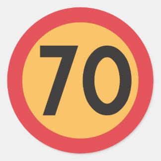Pegatina Redonda Pegatinas del límite de velocidad setenta