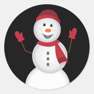 Pegatina Redonda Pegatinas del muñeco de nieve