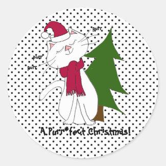Pegatina Redonda Pegatinas del navidad de Purr*fect del gatito de