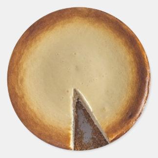 Pegatina Redonda Pegatinas del postre de Foodie del pastel de queso