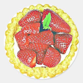 Pegatina Redonda Pegatinas del postre de la torta de frutas de la