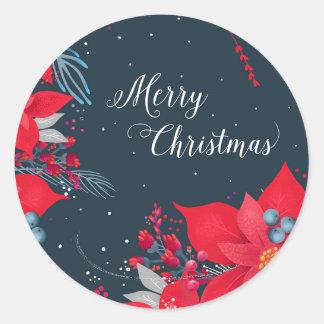 Pegatina Redonda Pegatinas del regalo de las Felices Navidad