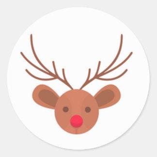 Pegatina Redonda Pegatinas del reno de Rudolph del navidad