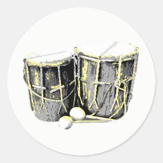 Pegatina Redonda Pegatinas del tambor de Garifuna