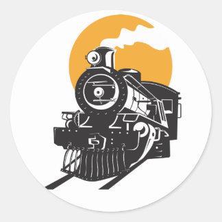 Pegatina Redonda Pegatinas del tren del vapor