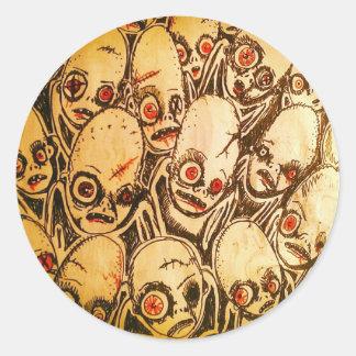 Pegatina Redonda pegatinas del zombi