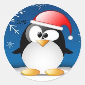 Pegatina Redonda Pegatinas divertidos del pingüino por una Feliz