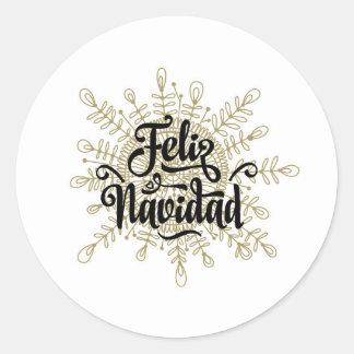 Pegatina Redonda Pegatinas españoles del navidad de Feliz Navidad