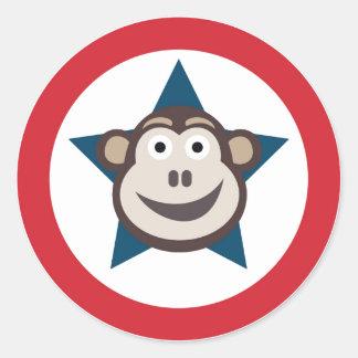 Pegatina Redonda Pegatinas estupendos del mono (círculo)
