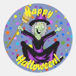 Pegatina Redonda Pegatinas felices de Halloween de la bruja