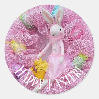 Pegatina Redonda Pegatinas felices de la guirnalda de Pascua
