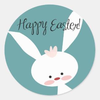 Pegatina Redonda Pegatinas felices lindos de Pascua del conejito de