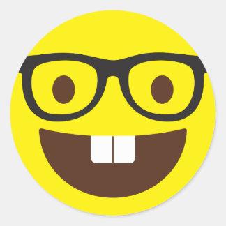 Pegatina Redonda Pegatinas Geeky lindos de Emoji