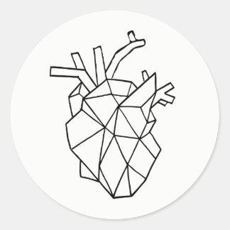 Pegatina Redonda Pegatinas geométricos del corazón