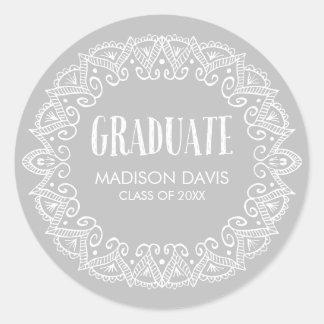 Pegatina Redonda Pegatinas gitanos grises de la graduación
